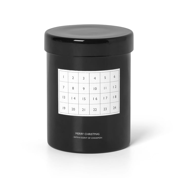Scented calendar candle from ferm Living in black