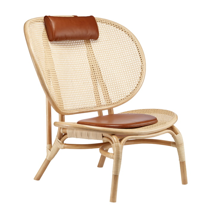 Nomad Lounge Chair by Norr11 in nature / cognac