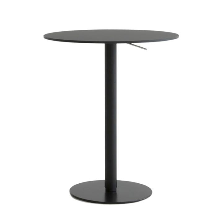 Brio bar table height: 72-102 cm, Ø 60 cm from La Palma in HPL Fenix black