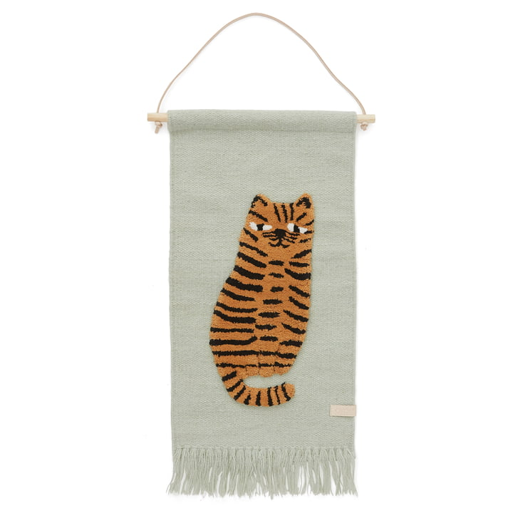 Children's tapestry with animal motif, tiger / green by OYOY