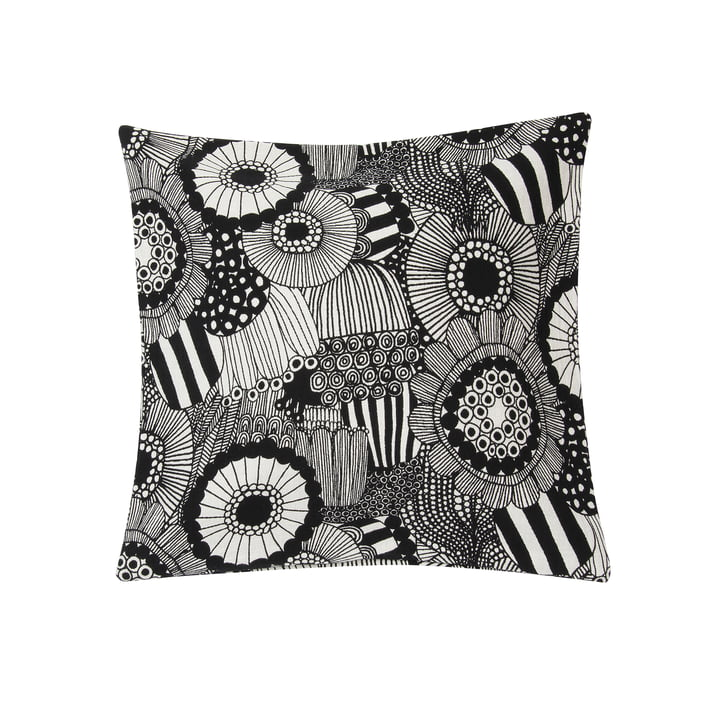 Pieni Siirtolapuutarha cushion cover 50 x 50 cm from Marimekko in off-white / black