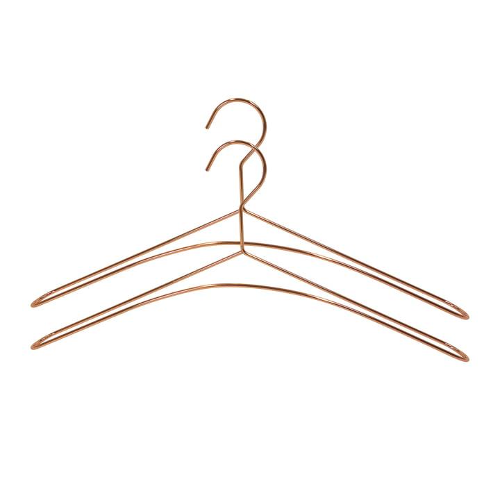 Two coat hangers in copper