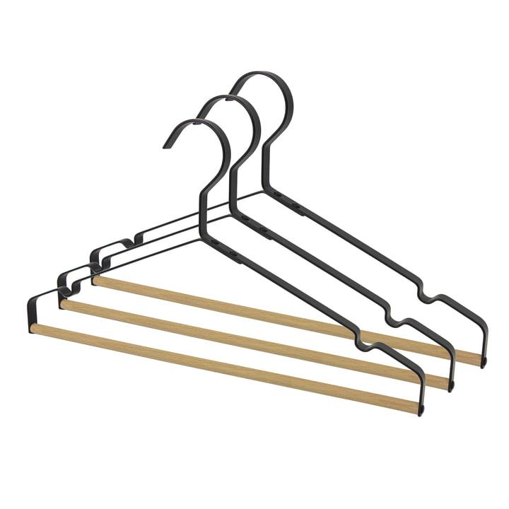 Connox Collection - Metal coat hanger with wooden bridge, black (set of 3)