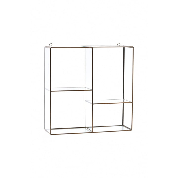 Keeper wall shelf / showcase H 33 cm from House Doctor in brass / glass