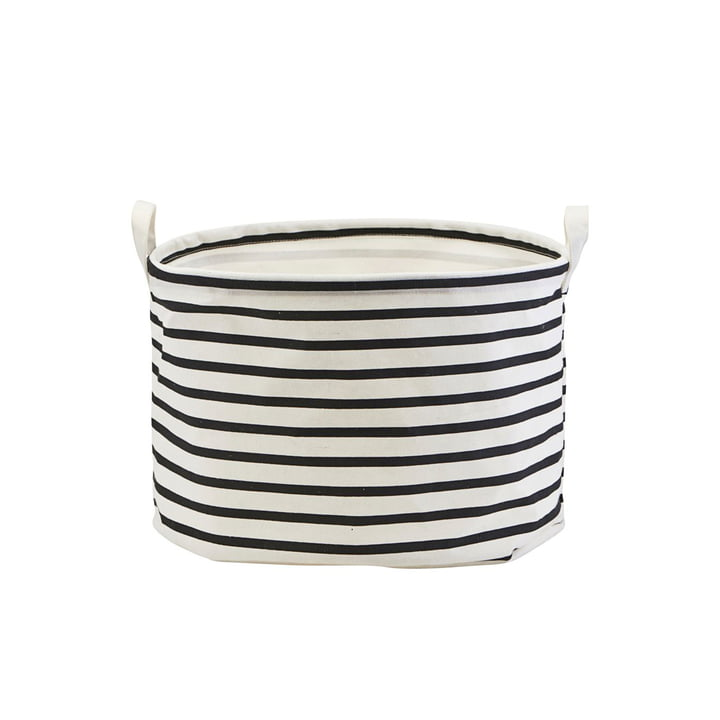 Storage Basket Stripes Ø 40 x H 25 cm by House Doctor in black / white
