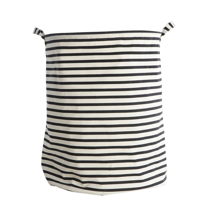 Laundry basket Stripes Ø 40 x H 50 cm by House Doctor in black / white