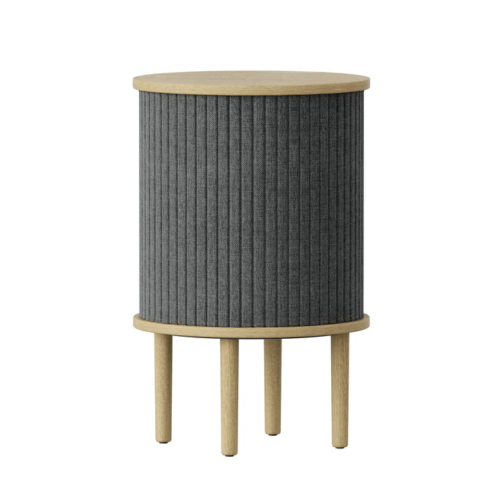 Audacious Side table with USB connection Ø 38 x H 5 9. 3 cm from Umage in natural oak / slate grey