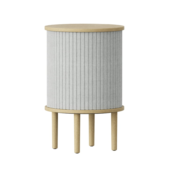 Audacious side table with USB port Ø 38 x H 5 9. 3 cm from Umage in oak nature / silver grey