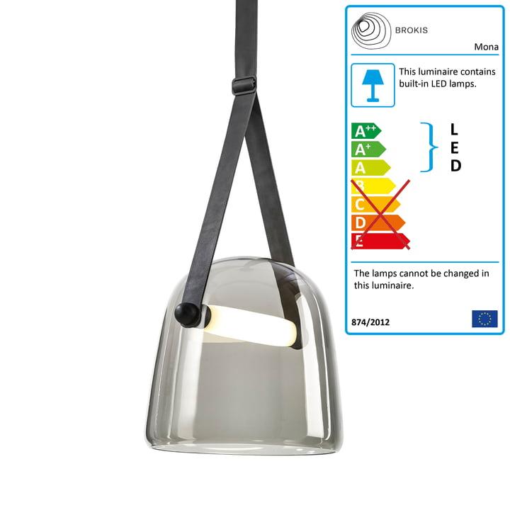 Mona LED pendant lamp medium by Brokis in glass smoke grey / oak black stained / black / leather black