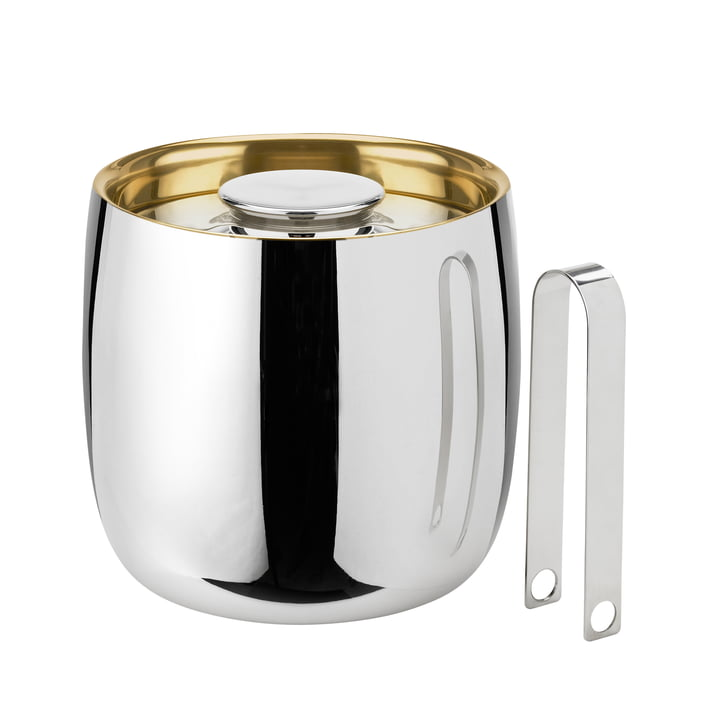 Foster champagne cooler / ice bucket with pliers by Stelton in stainless steel
