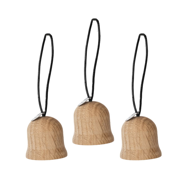 Jul Christmas tree decoration bell by ArchitectMade in oak (set of 3)