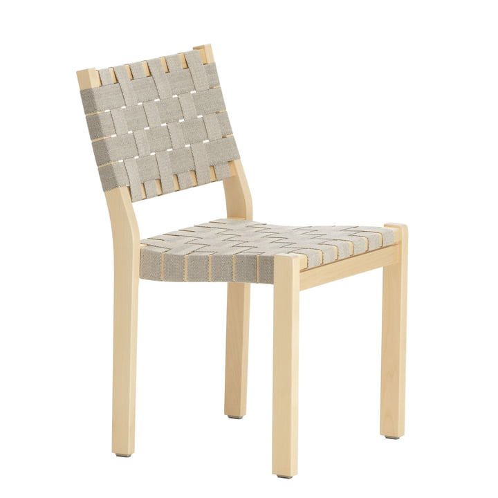 Chair 611 by Artek in birch clear lacquered / linen straps natural black patterned