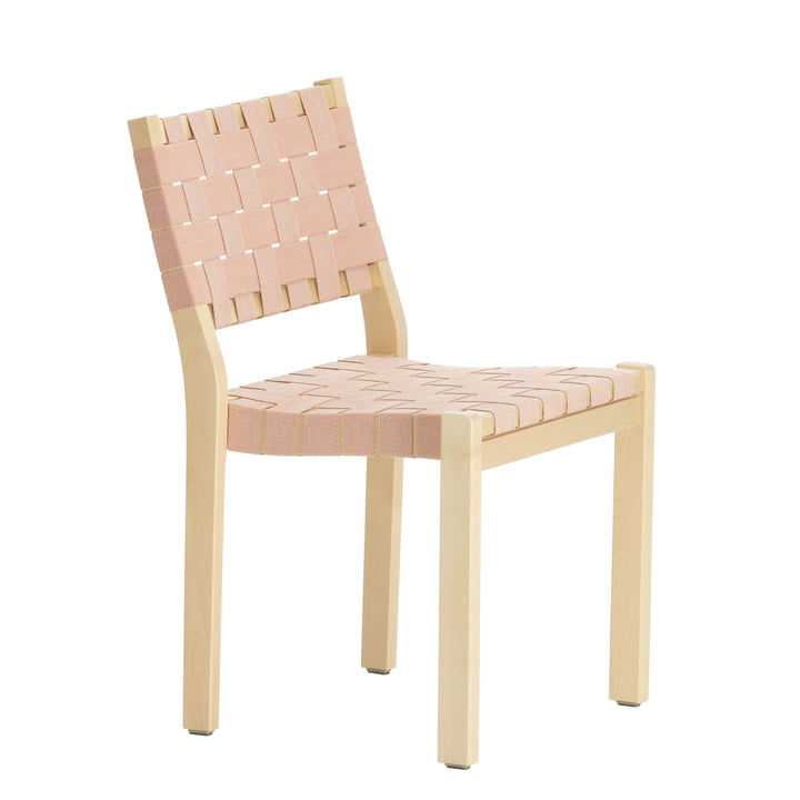 Chair 611 by Artek in birch clear lacquered / linen straps natural red patterned