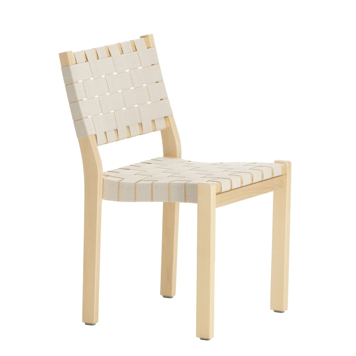 Chair 611 by Artek in birch birch clear lacquered / linen straps nature-white patterned