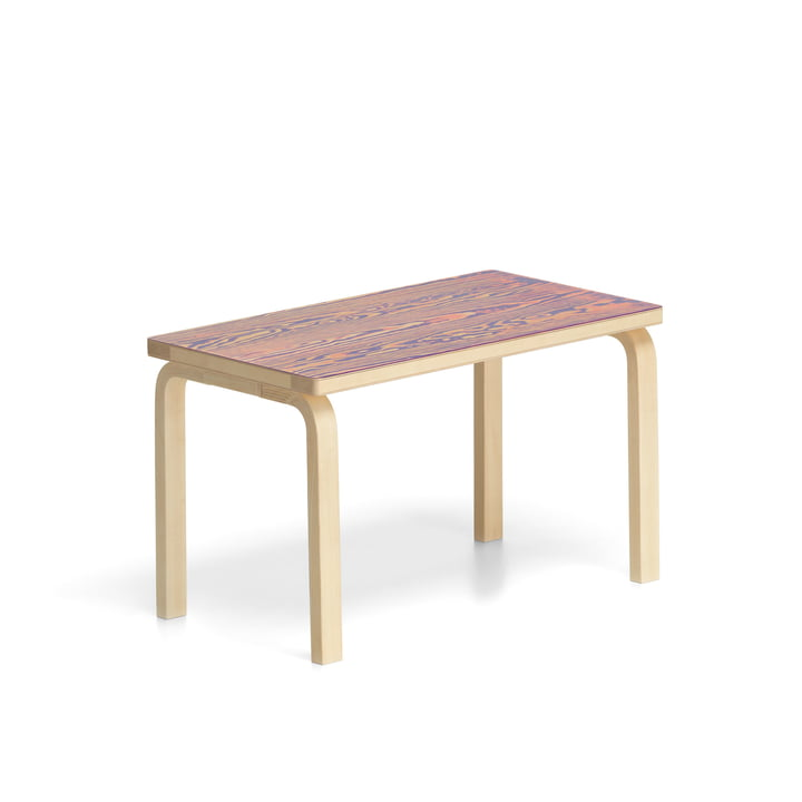 Bench 153B ColoRing Editon by Artek in clear lacquered / pink-violet