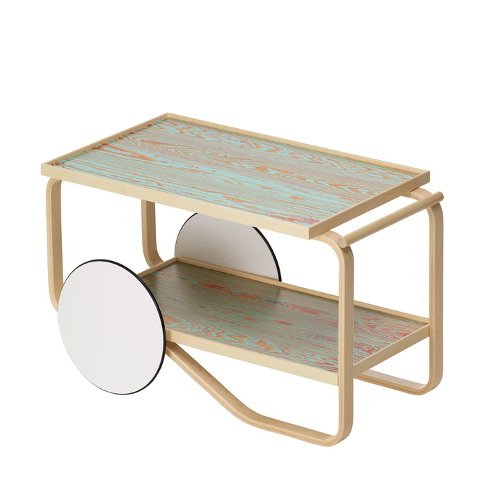 901 Serving trolley ColoRing Edition by Artek in shelf surface red-turquoise / birch wood edge / wheels white lacquered