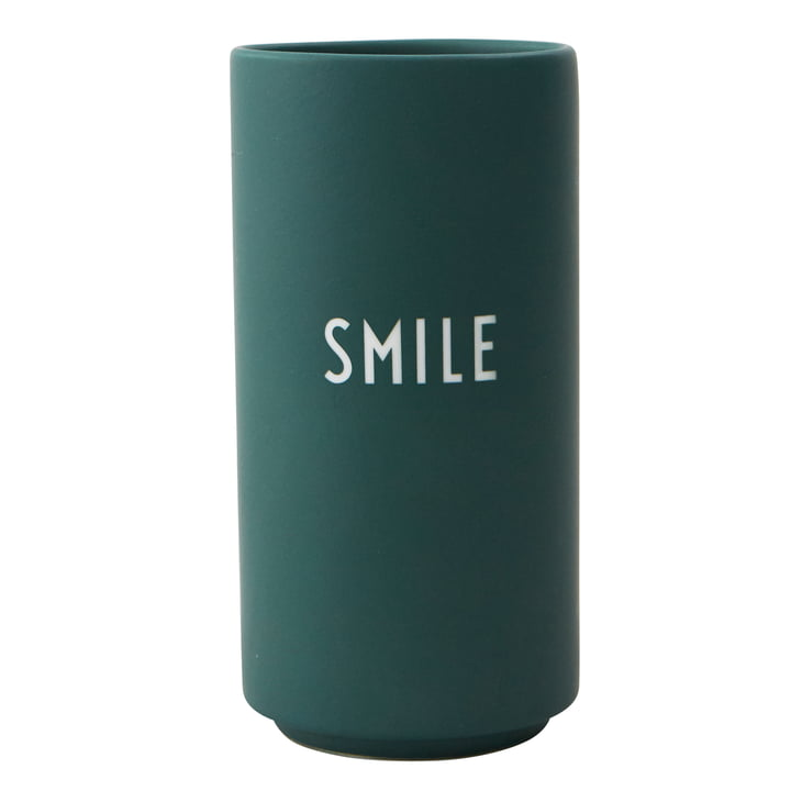 AJ Favourite Porcelain Vase Smile by Design Letters in dark green