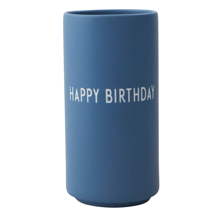 AJ Favourite Porcelain Vase Happy Birthday by Design Letters in blue