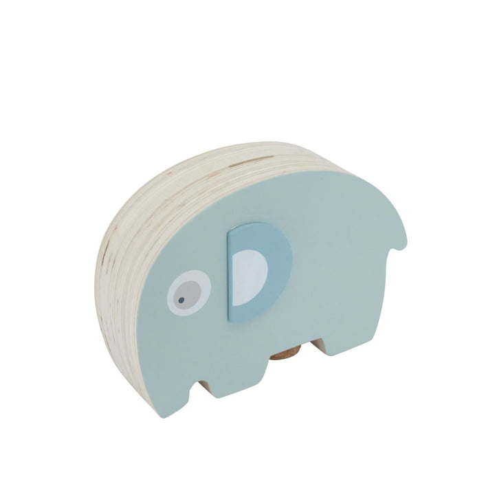 Fanto the elephant wooden money box from Sebra in lagoon blue