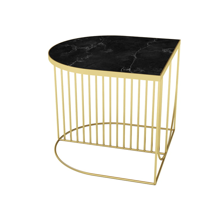 Sino coffee table 50 x 50 cm from AYTM in gold / marble black