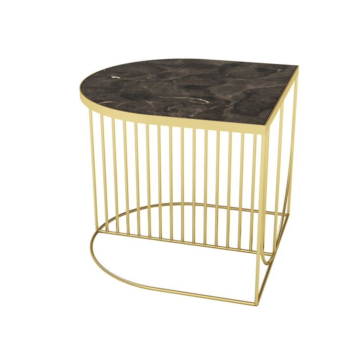 Sino coffee table 50 x 50 cm from AYTM in gold / marble brown