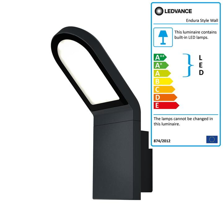 Ledvance - Endura Style Wall LED Wall Light Outdoor, IP 44 / Warm White 3000 K, dark grey