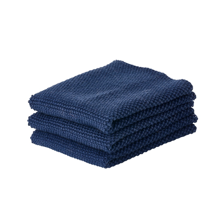 Cleaning cloth 27 x 27 cm from Zone Denmark in dark blue (set of 3)