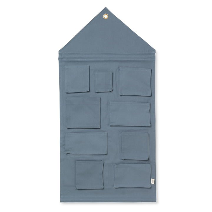 House wall storage of ferm Living in dusty blue