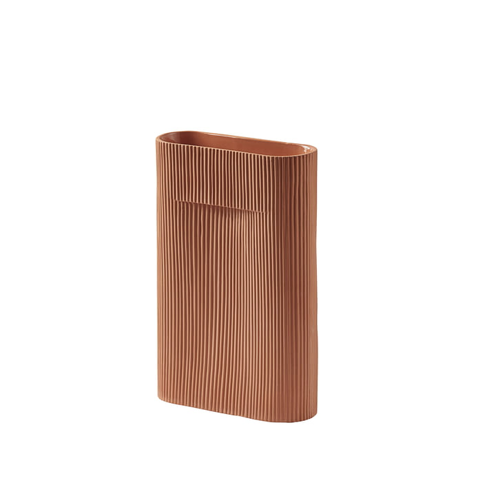 Ridge Vase H 35 cm from Muuto in terracotta
