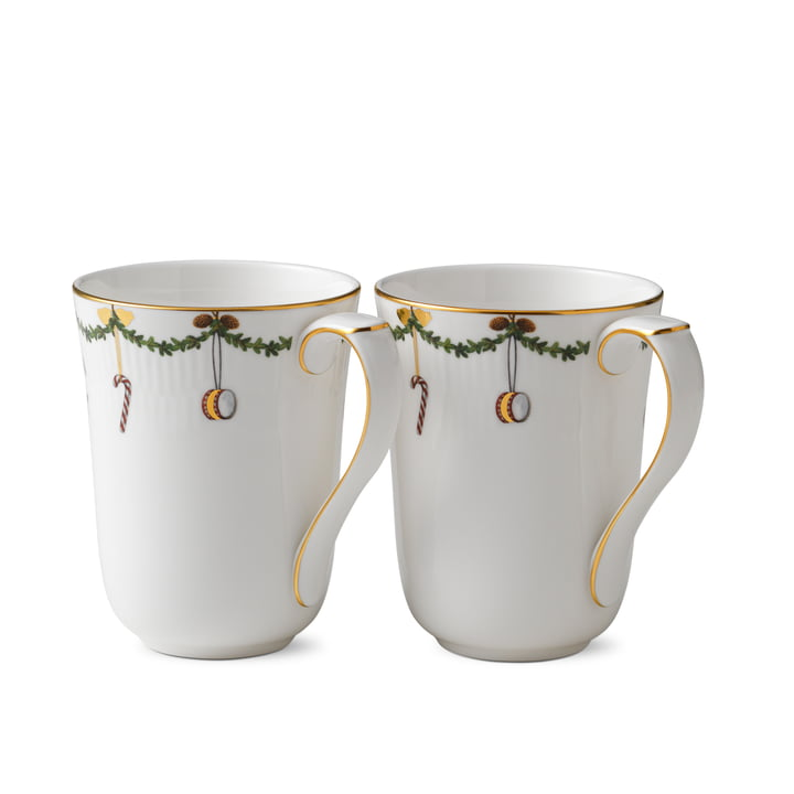 Star Fluted Christmas mug 33 cl (set of 2) from Royal Copenhagen