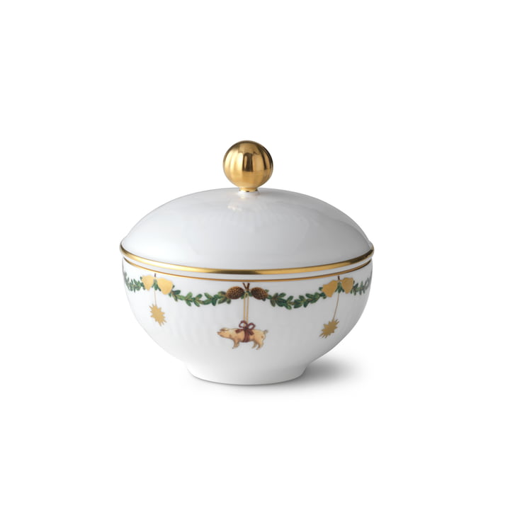 Star Fluted Christmas sugar bowl with lid 15 cm from Royal Copenhagen