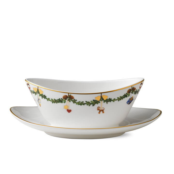 Royal Copenhagen - Star Fluted Christmas Sauce boat with saucer, 43 cl