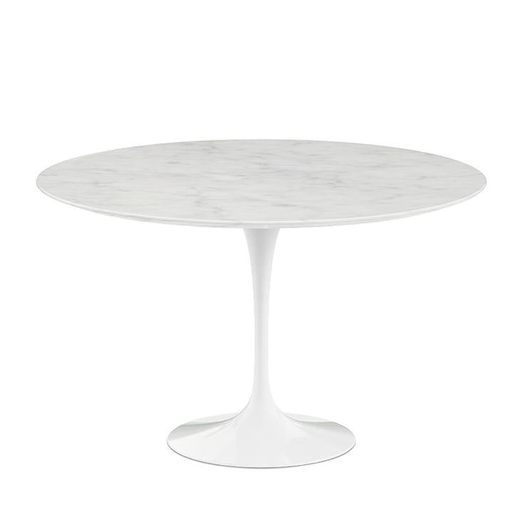 Saarinen Tulip bistro table Ø 120 cm from Knoll in white / Mamor Statuarietto