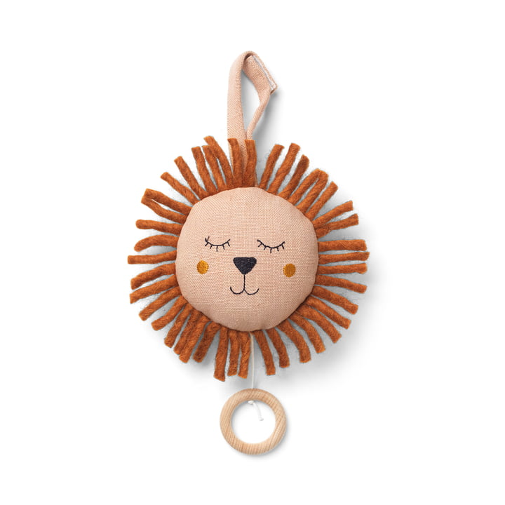 Lion music box by ferm Living in the color dusty rose