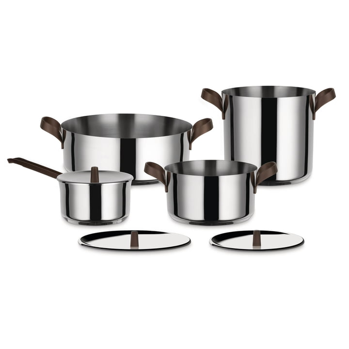 Edo pot set from Alessi in stainless steel (7 pcs.)