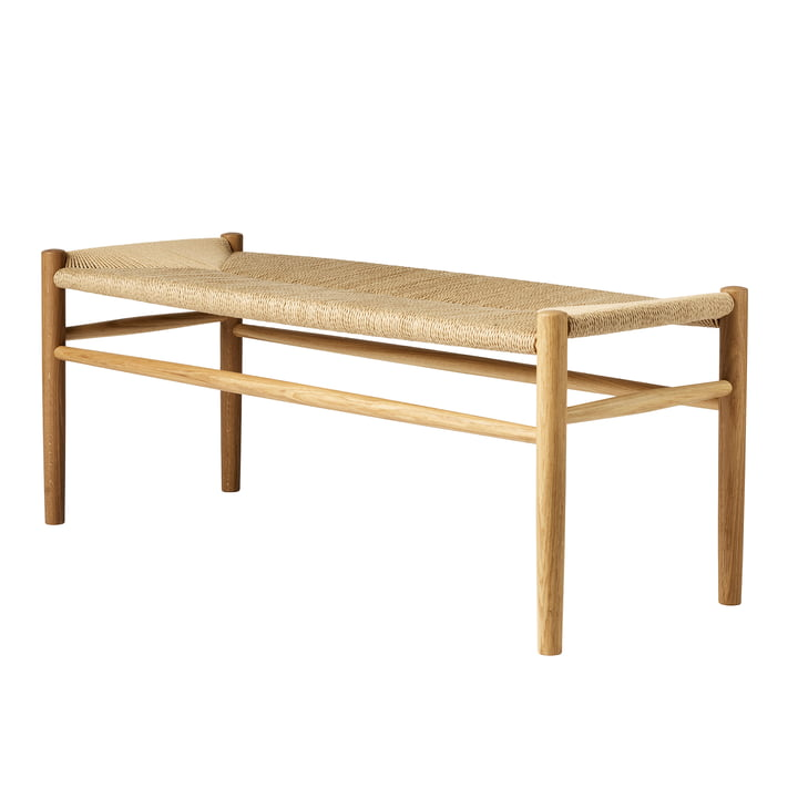J83B Bench, black lacquered beech / natural weave by FDB Møbler