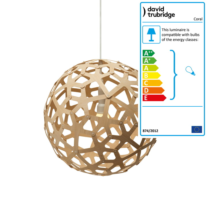 Coral pendant lamp Ø 40 cm by David Trubridge in nature on both sides