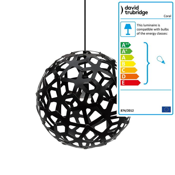 Coral pendant lamp Ø 40 cm by David Trubridge in black on both sides