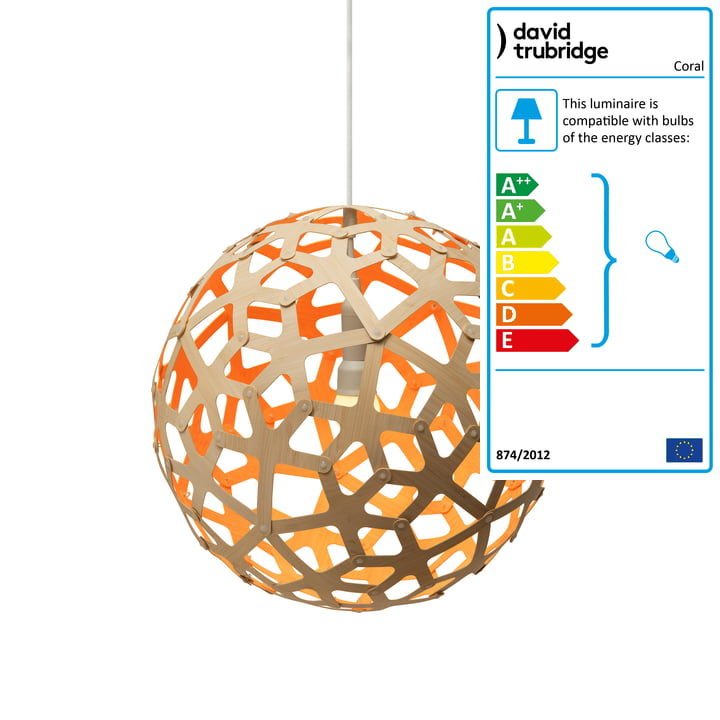 Coral pendant Ø 40 cm by David Trubridge in nature/ orange