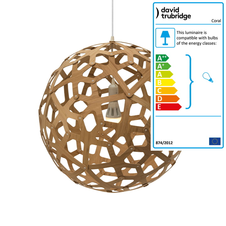 Coral pendant lamp Ø 60 cm by David Trubridge in caramel on both sides