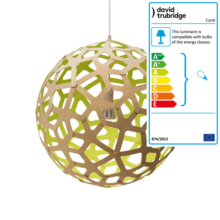 Coral pendant lamp Ø 60 cm by David Trubridge in nature/ lime green