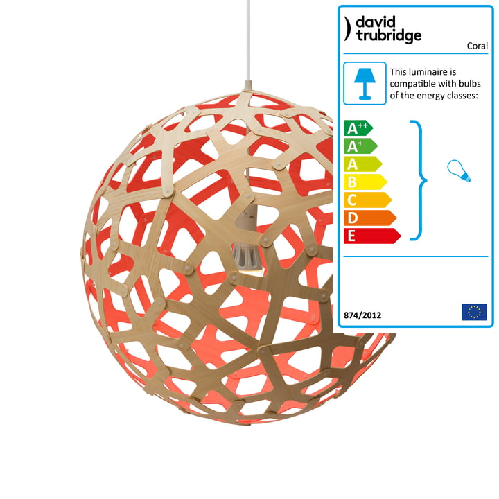 Coral pendant Ø 60 cm by David Trubridge in nature/ red