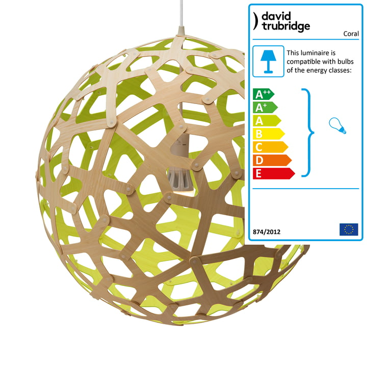Coral pendant lamp Ø 80 cm by David Trubridge in nature/ lime green