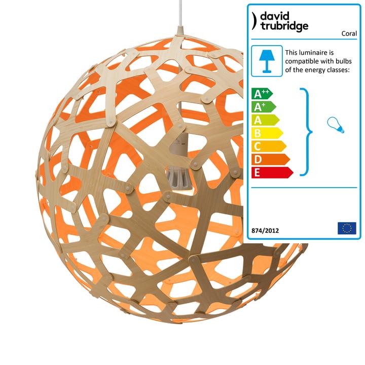 Coral pendant Ø 80 cm by David Trubridge in nature/ orange