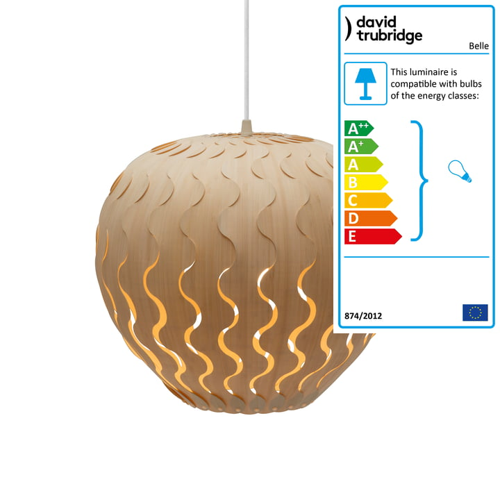 Belle pendant lamp Ø 33 cm by David Trubridge in nature on both sides