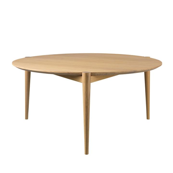 D102 Søs coffee table Ø 85 cm from FDB Møbler in oak clear varnished