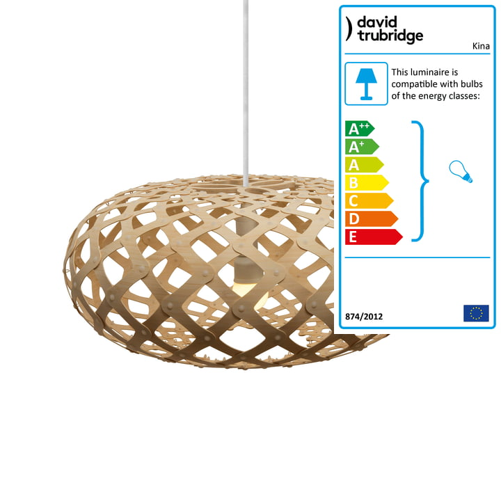 Kina pendant lamp Ø 44 cm by David Trubridge in nature on both sides