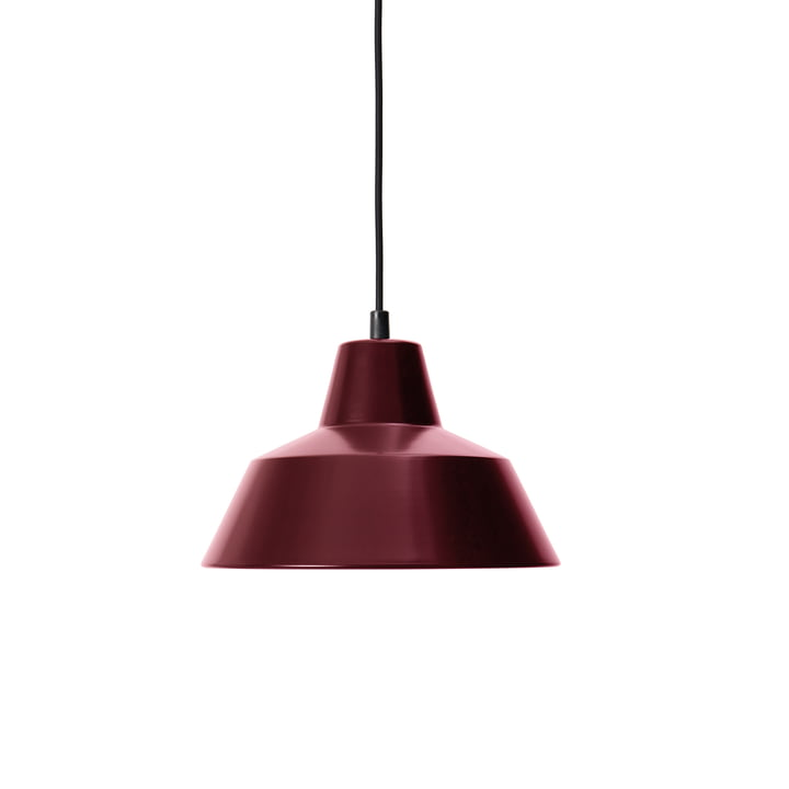 Workshop Lamp W2, wine red / black by Made by Hand