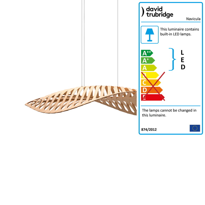 Navicula LED pendant lamp small by David Trubridge in nature