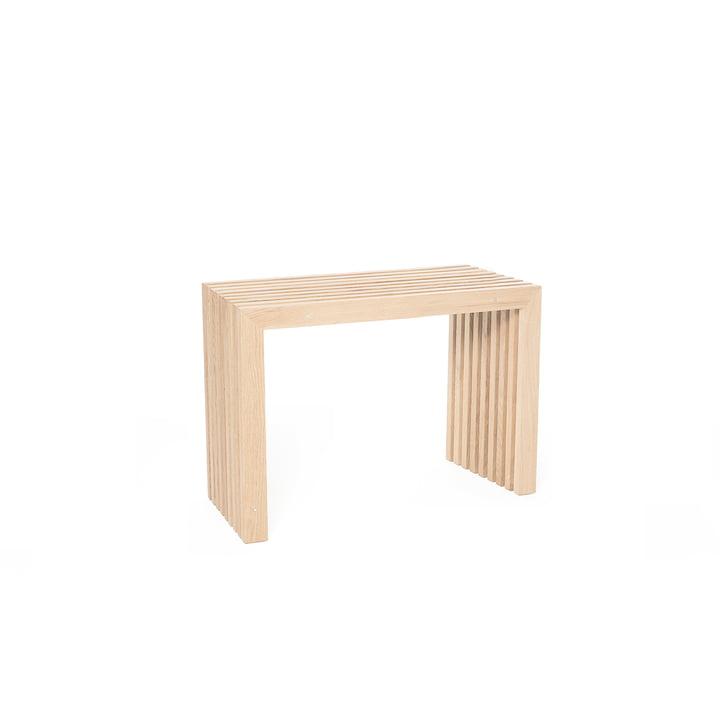 Bench made of oak slats, L 60 cm / natural oak of room design
